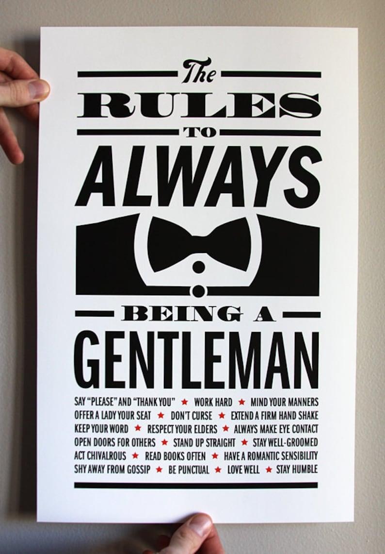 Gentleman Rules Print  11x17 image 1