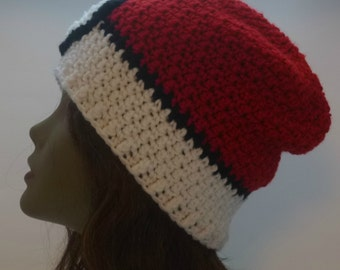 A lil bit of geekery Pokemon  Inspired PokeBall Slouch Beanie Red and White  Gift Under 40 dollars