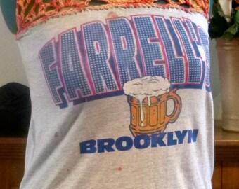I Love New York  Womens Eco  Fashion Upcycled Tee Shirt Farrell's Bar Brooklyn