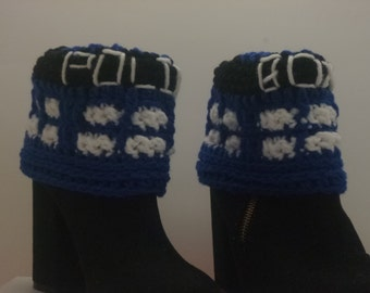 Boot Cuffs A Little Bit of Geekery Tardis Inspired Police Box Crocheted  Boot Socks  Gift Under  20 dollars