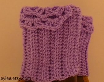 Gift Under  20 dollars Chunky Purple Crocheted Boot Cuffs