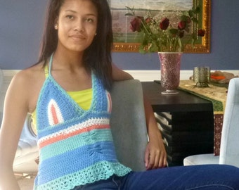 Summer Fashion Ready for the Beach or Music Festival  Crochet Halter Top Blue,Green, Coral, White