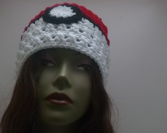A lil bit of geekery Pokemon  Inspired PokeBall Beanie Red and White  Gift Under 30 dollars
