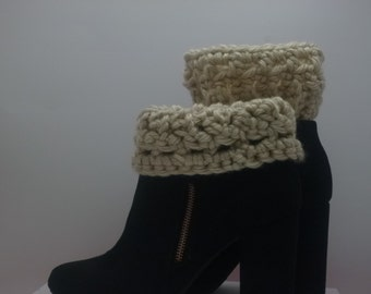 Chunky Off White  Boot Cuffs Crocheted Boot Socks Gift Under  20 dollars