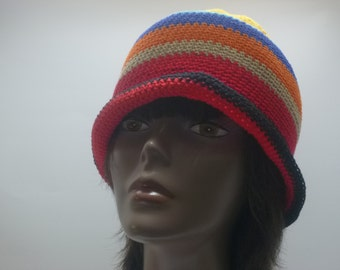 Spring Summer Sun Hat Crochet Cloche  With Brim  Red Yellow Green Blue Turquoise Orange Black Light Brown