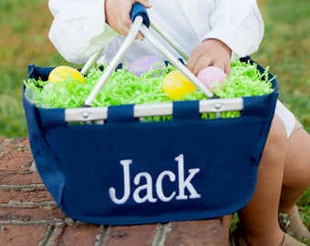 Boys Monogrammed Easter Basket Personalized Mini Market Tote NAVY FAST SHIP