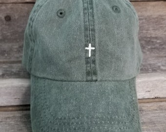 bf5314f5a20 Forest pigment dyed dad hat with tiny embroidered cross