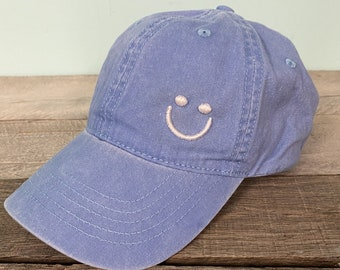 Smiley Face baseball hat~Pigment Dyed~Unstructured-womens hat-lots of colors, puff design