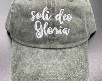 Soli Deo Gloria pigment dyed dad hat, baseball handwritten.Faith dad cap, maroon, forest, navy. Embroidered