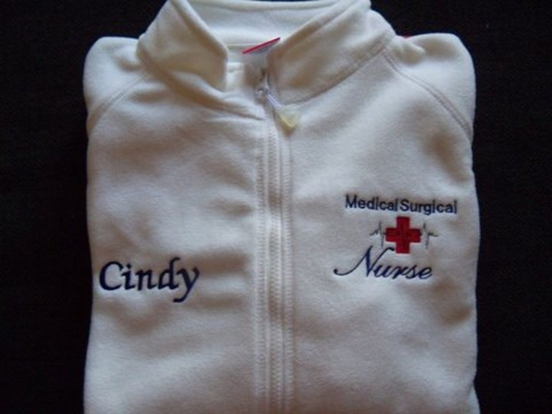 Medical Surgical Nurse White Fleece Embroidered Jacket