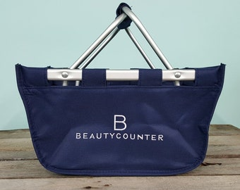 Beautycounter Market Tote basket navy embroidered small