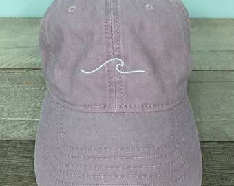 wave baseball hat~Pigment Dyed~Unstructured-womens hat-lots of colors, beach