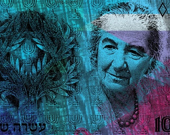 10 shekel Israel banknote - Golda Meir - Pop Art Warhol style - Giclee on  canvas