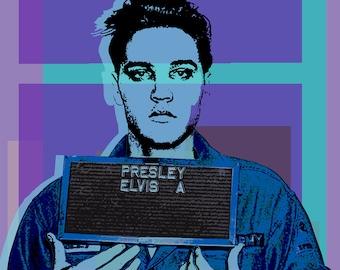 Elvis Presley Mugshot -  Pop Art Warhol style print