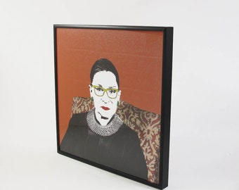Ruth Bader Ginsburg Pop Art Warhol style print. Framed, ready to hang - only one piece
