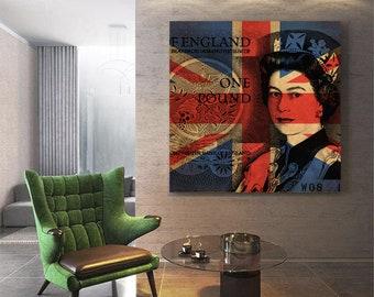 Queen Elizabeth Pop Art Warhol style print - One pound note - Union jack as background.