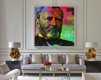 Ulysses S. Grant Pop Art Warhol style collage - giclee on canvas