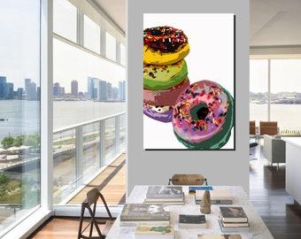 Donut Pop Art print - multicolors sprinkles - White background