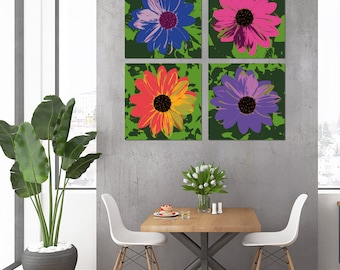 Daisy - Set of 4 canvases - Pop Art Warhol style print
