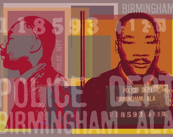Martin Luther King mugshot -  Birmingham Alabama -  Pop Art Warhol style print