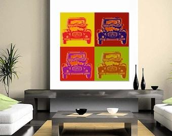 Citroen 2CV Pop Art  Warhol style - 4 panels -  on canvas