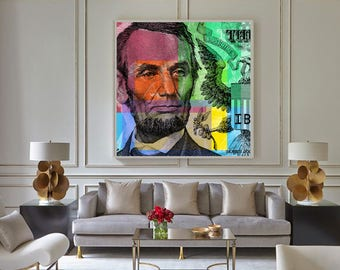 Lincoln Pop Art Andy Warhol style - giclee on canvas