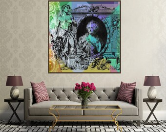 100 Ruble Banknote Pop Art Collage #2  - square canvas giclee