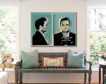 Johnny Cash mugshot Pop Art Warhol style - teal or taupe background