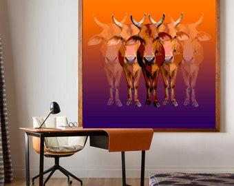 Brahman cow Pop art print - canvas