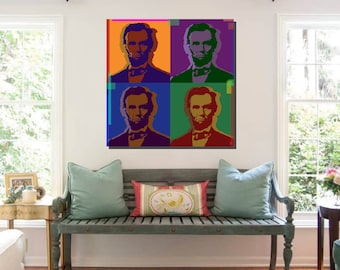 Abraham Lincoln Pop Art Warhol style print on canvas