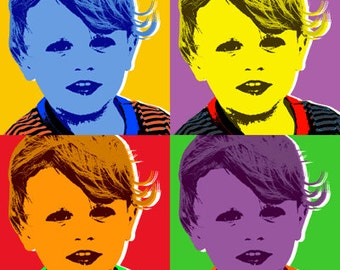 Custom Pop art Warhol style print - Rolled or stretched canvas.
