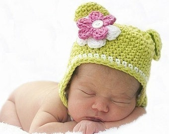 Crochet Monkey Hat with detachable flowers and braids Handmade by  AngelsChest - Photography Prop - Sizes Newborn 44c1ee448d20