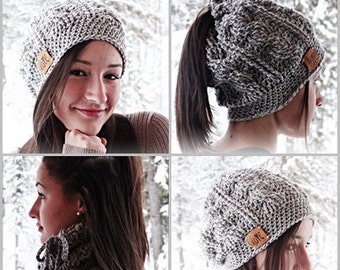 Crochet Pattern - Ponytail Beanie Hat Scarf by AngelsChest - Pattern No. 72