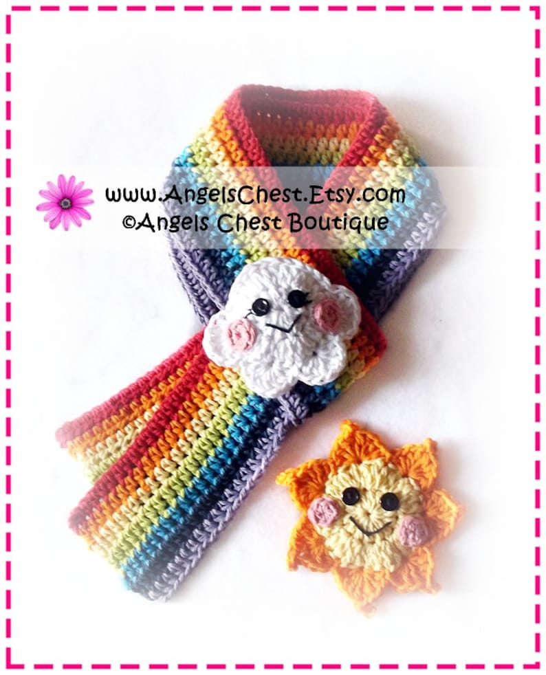 2191d7d3004 Crochet Colorful RAINBOW Sun and Cloud Scarf PDF Pattern