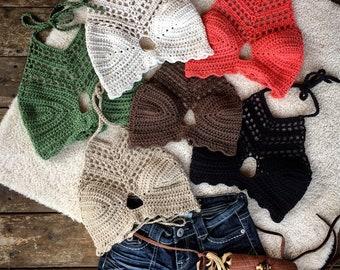 Crochet halter top - Festival top - Modern top - Hippie - Boho top - Sexy crop top - Summer wear - Bralette by AngelsChest