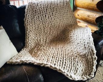 Custom Handmade Chunky Chenille Throws and Blankets   Chunky Knit Blanket   Soft Chenille Hand-Knit Throw   Chenille   Home Decor   Boho