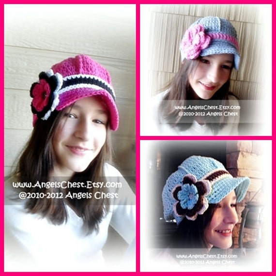 c1753f5dc78 Newsboy Beanie with Visor Brimmed Hat and Detachable Flower