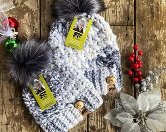 Mommy and Me Set, Winter Mommy and Me Hat Set, Mommy and Me Beanies, Hat Gift Set, Beanie Adult and Toddler Gift Set