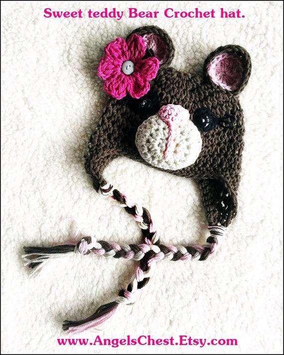 Crochet bebé oso gorro Beanie foto Prop tamaños recién | Etsy