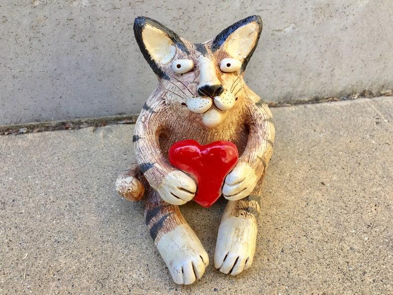 Cat Medium Stoneware Handmade image 0