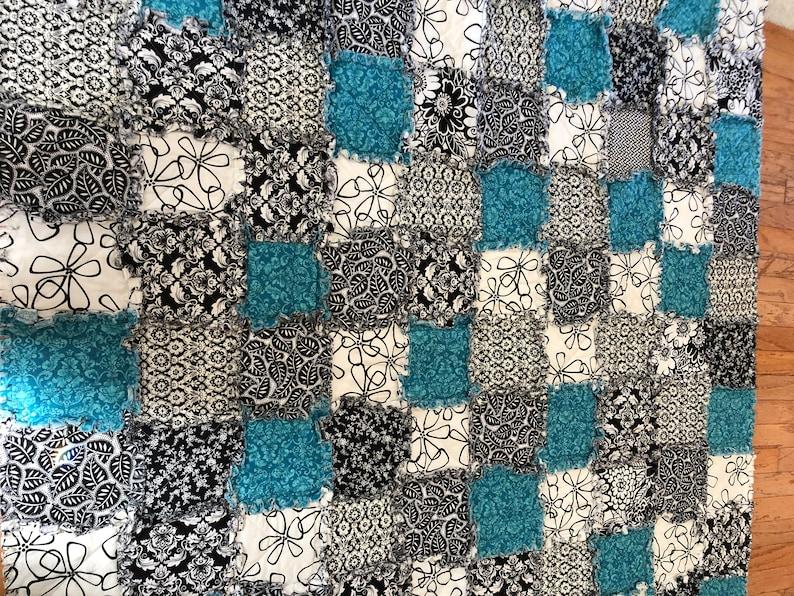 Aqua Black and White Rag Quilt