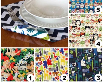 Placemats DOUBLE SIDED Laminated Cotton aka Oilcloth wipe clean, choose your fabrics, set of 4