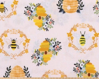PADDED Ironing Board Cover with elastic around edges, beehive floral bees and hives and wreaths on blush bkg  fabric, select your size