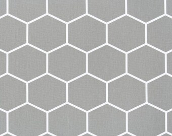 "Laminated cotton aka oilcloth heavyweight 52"" square finished size DRAPED tablecloth, Medium Gray Honeycomb"
