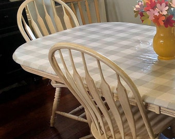Laminated cotton aka oilcloth heavyweight tablecloth, fitted by TAILORING or fitted by ELASTIC or DRAPED, gray and white Buffalo Plaid