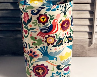 Car trash can, small collapsible wastebasket, thread catcher, laminated cotton fabric, waterproof, wipe clean, WASTIE, La Paloma, etc
