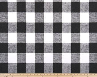 For Maureen Laminated cotton aka oilcloth heavyweight tablecloth fitted with ELASTIC, black & white Buffalo Plaid large gingham