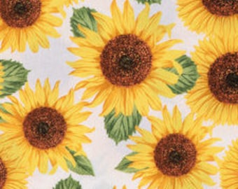PADDED Ironing Board Cover with elastic around edges, large golden sunflowers on white background fabric, select your size