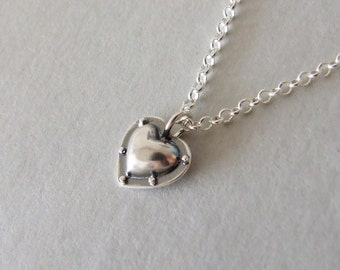 Riveted Heart Necklace - alternative heart necklace , riveted heart , steampunk necklace , silver necklace , heart pendant , industrial