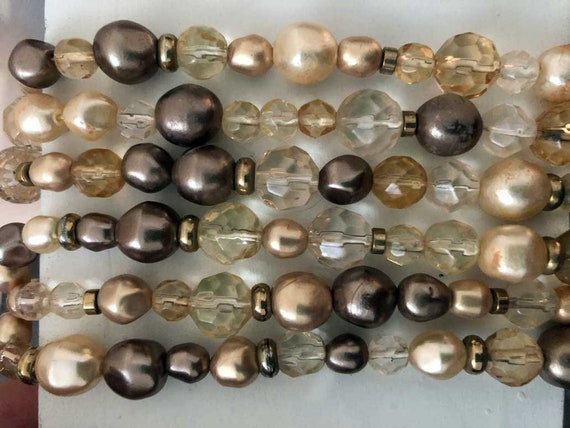 Vintage Taupe Beaded Choker Necklace